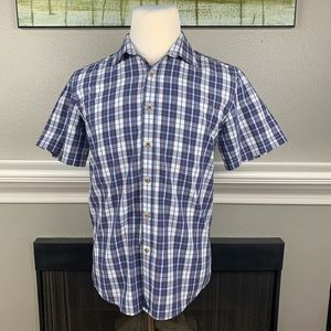 Untuckit Blue Striped SS Button Up Shirt Sz Medium